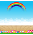 Brown wood floor with flower and blue sky rainbow vector image