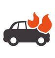car burning and danger emergency accident vector image vector image