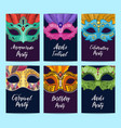 card or flyer templates set with carnival vector image vector image