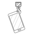 cellphone with crane hook in black and white vector image vector image