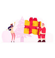 christmas party cheerful santa claus character vector image