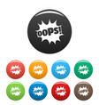 comic boom oops icons set color vector image vector image