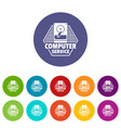 computer service icons set color vector image