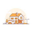 cottage house - modern line design style vector image vector image