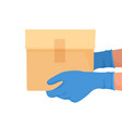 courier delivered box with gloves on his hands vector image