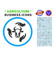 cow care hands rounded icon with set vector image vector image