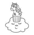 cupcake head cute unicorn in cloud kawaii vector image vector image