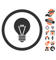 electric bulb icon with lovely bonus vector image vector image