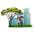 Employees under the tree vector image vector image