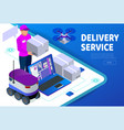 express home delivery courier gives the woman a vector image vector image