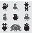 farm animals simple stickers set eps10 vector image vector image