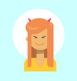female with devil horns emotion profile icon vector image