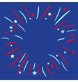 fireworks ball star and strip blue background vector image vector image