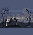 ghost and zombie on scary halloween background vector image