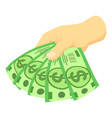 green dollars in hand icon isometric style vector image vector image