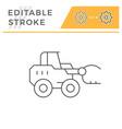 hay loader tractor line icon vector image vector image