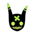 head black cartoon animal with green eyes vector image