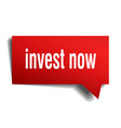 invest now red 3d speech bubble vector image vector image