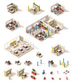 isometric low poly car icon set vector image vector image
