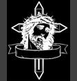 jesus christ head art design in black vector image