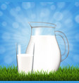jug with glass and blue sky grass border vector image vector image