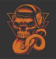 long tongued skull headphone vector image vector image