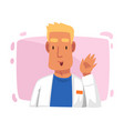 male doctor character in white robe waving his vector image vector image