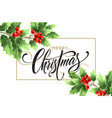 merry christmas lettering in rectangular frame vector image vector image