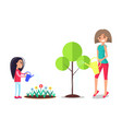 mother and daughter working in garden mom watering vector image