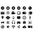 Multimedia black and white icons set