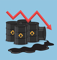 Oil barrels and downtrend graph vector image