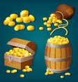 old wooden chest barrel bag with gold coins vector image