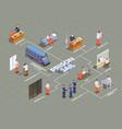 prison jail isometric flowchart vector image