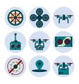 quadrocopter flat icons set vector image