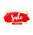 red brush stroke sale banner with golden frame vector image