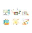 school supplies set computer crayons test tubes vector image vector image