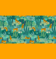 seamless exotic pattern with tigers in jungle vector image vector image