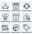 set of 9 commerce icons includes callcentre vector image vector image