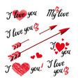 set of i love you vector image