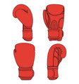 set of with red boxing gloves vector image vector image