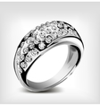 Silver wedding ring and diamonds vector image