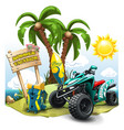 summer composition with quad bike on green hill vector image