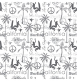 Surfing California Gray Seamless Pattern vector image vector image
