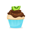 sweet cupcake with chocolate glaze vector image vector image