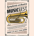 symphonic orchestra at music fest vintage poster vector image vector image