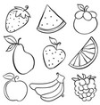 various fruit element of doodle style vector image vector image