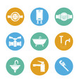 white background with set of plumbing icons in vector image
