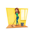 woman washing floor with mop cartoon icon vector image vector image