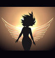woman with angel wings vector image vector image