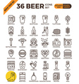 Craft Beer pixel perfect outline icons vector image